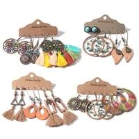 multiple womens boho ethnic vintage tassel water round dangle drop earrings in set fashion 2019 women charm jewelry accessories