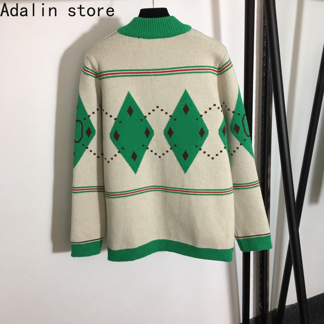 2021 spring and autumn new diamond check high quality women's long sleeve coat color matching temperament knitted cardigan enlarge