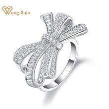 Wong chuva luxo 100% 925 prata esterlina criado moissanite pedra preciosa casamento noivado bowknot anel jóias finas por atacado