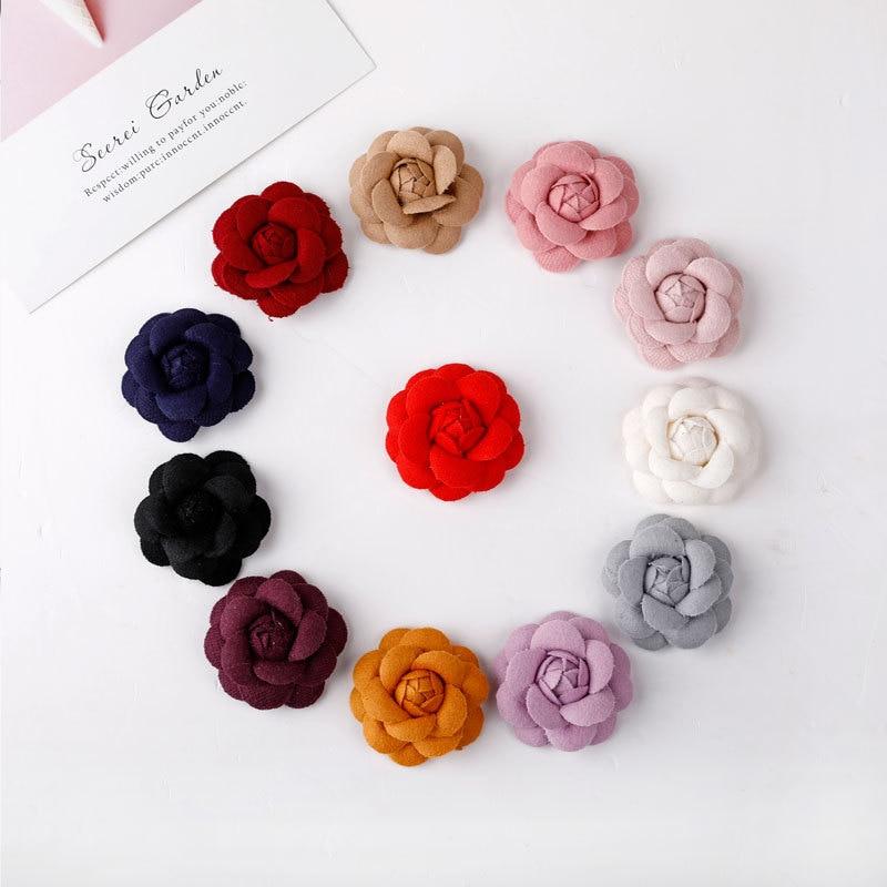 30pcs DIY Felt Flowers Accessory Fashion hair accessories Flower brooch Headwear camellia Hair Bows