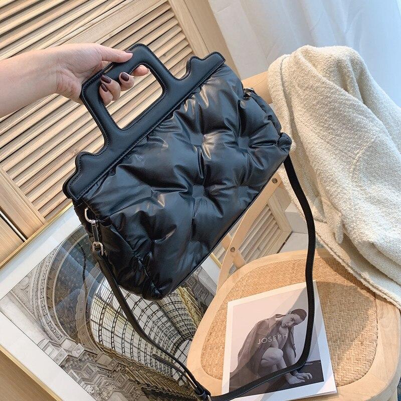 حقيبة يد نسائية مبطنة ، حقيبة كتف مبطنة من جلد البولي يوريثان ، حقيبة كتف فاخرة ، 2021