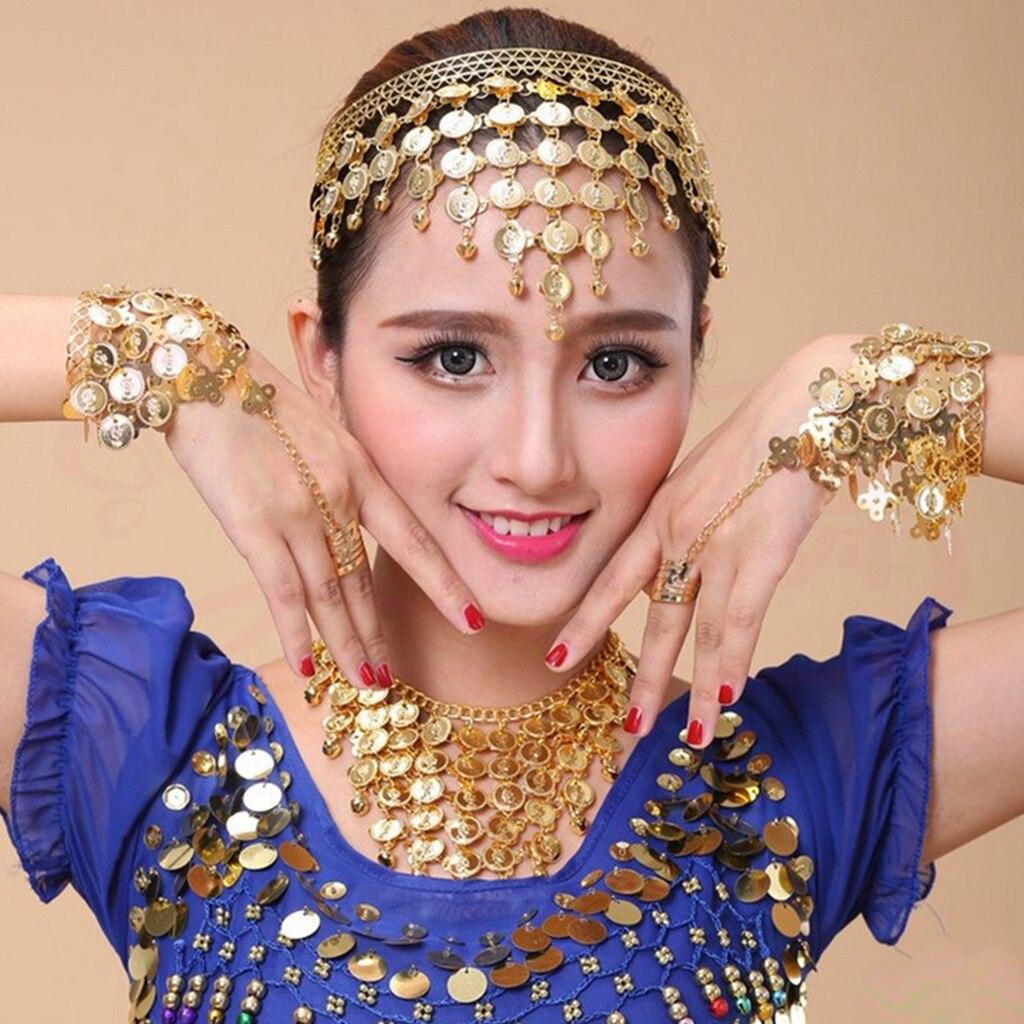 Conjunto de joyería para danza del vientre gitana de 4 Uds., collar, pendientes, pulsera, danza del vientre