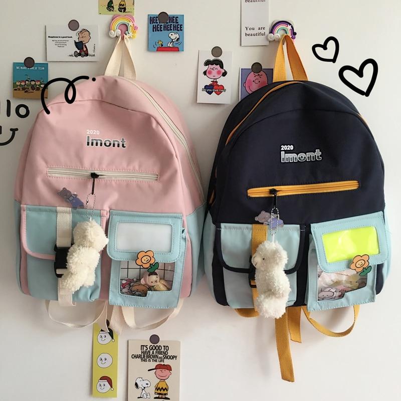 Mochila para computador portátil Linda Harajuku de diseño para mujer, mochila de viaje, mochila escolar para chicas adolescentes, mochila de moda para mujer de estilo coreano 2020