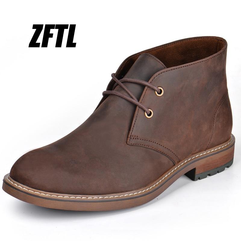 ZFTL-أحذية مارتين للرجال ، أحذية جلدية أصلية كبيرة الحجم من جلد الحصان المجنون ، أدوات من جلد الغزال