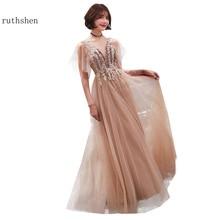 2019 Evening Dresses Long Robe De Soiree A Line Women Vestidos De Gala Lace Tulle Formal Dress Party Prom Gowns