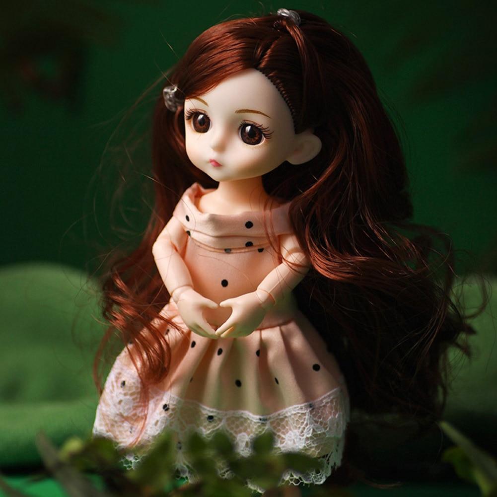 Peluca larga a la moda para niñas, maquillaje realista, regalo de princesa, juguete articulado DIY para muñecas bebé con ojos en 3D, BJD para niños pequeños