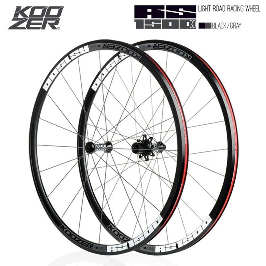 KOOZER RS1500 700C Road Bike Wheelset Sealed Bearing Hub 20H 24H 72 Ring 30MM Rim 2:1 Spoke 100MM 130MM Open File Alloy Wheels