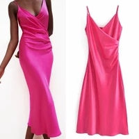 summer slip long dress woman 2021 rose red camisole elegant party dresses women ruched backless midi sexy dresses