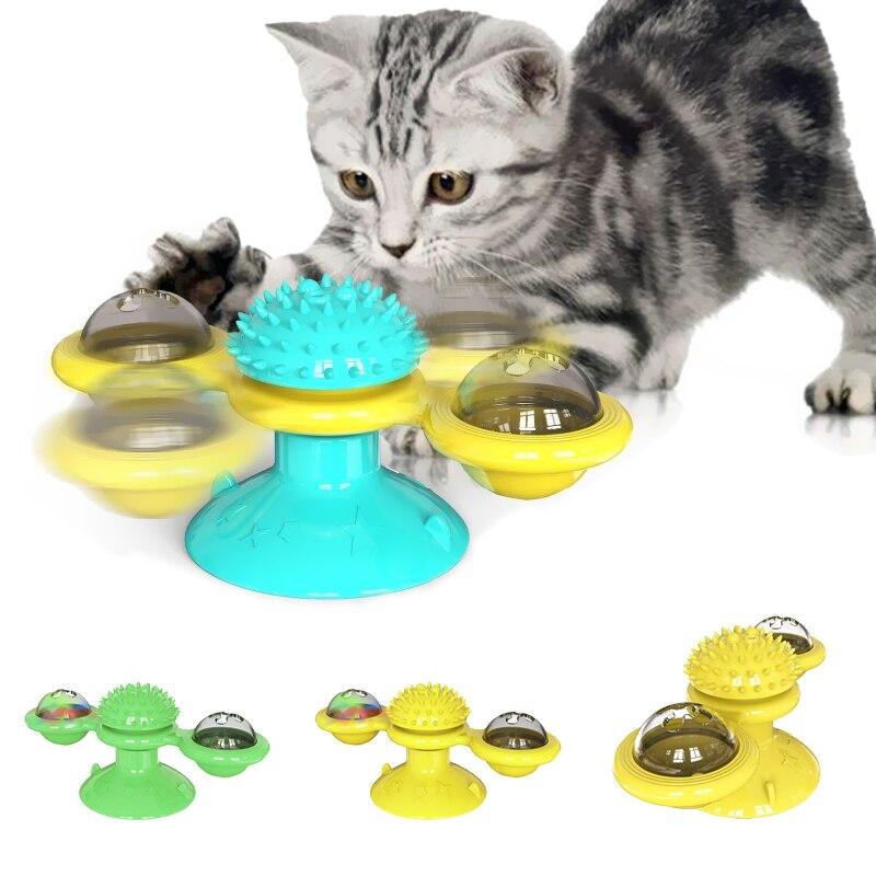 Brinquedos de pára-brisa para gatos, quebra-cabeça giratório para treinamento de gatinhos, brinquedos e escova de dentes