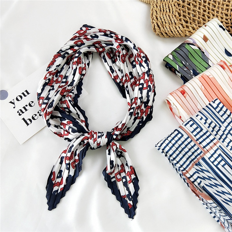70*70cm Small Square Scarf Colorful Print Crinkle Silk For Women Girls Accessories Simple Vintage Fold