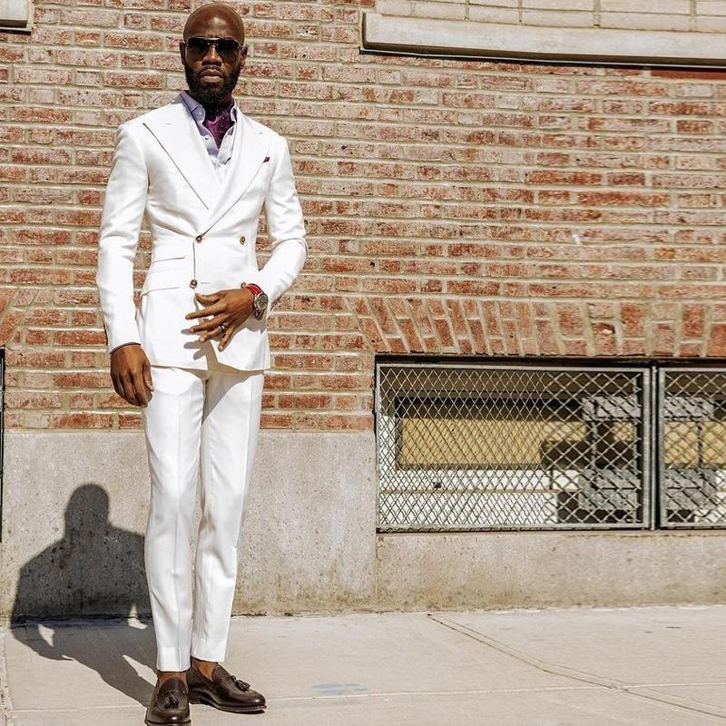 سليم صالح الأبيض رجالي البدلة قطعتين مزدوجة الصدر الزفاف البدلات الرسمية مخصص ملابس الأعمال (سترة + السراويل)