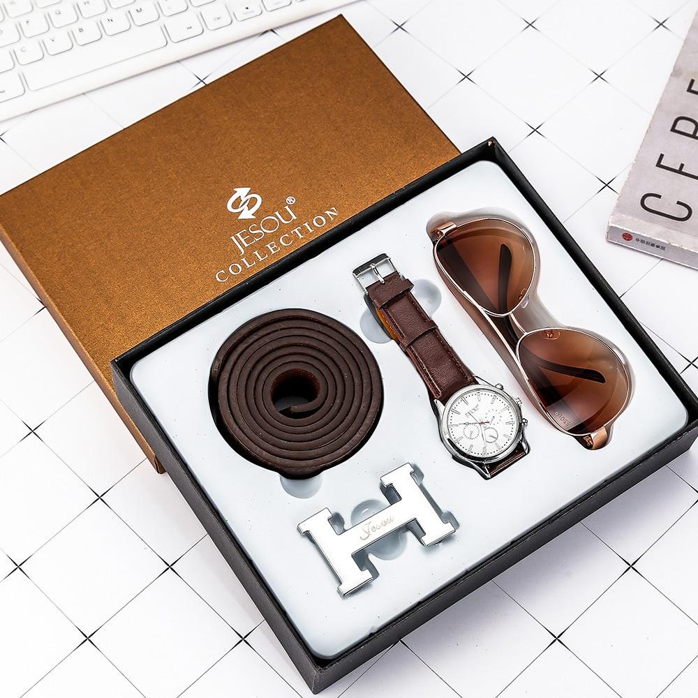 3 unids/set boutique set de regalo cinturón + reloj de cuarzo + gafas regalos son una buena opción hombres reloj moda Casual Relojes de Cuero