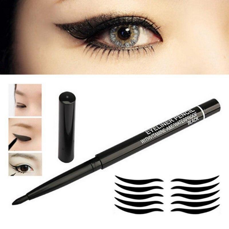 Caneta eyeliner à prova dwaterproof água rotação automática longa duração não-blooming secagem rápida nenhum fade lápis delineador maquiagem cosméticos tslm2