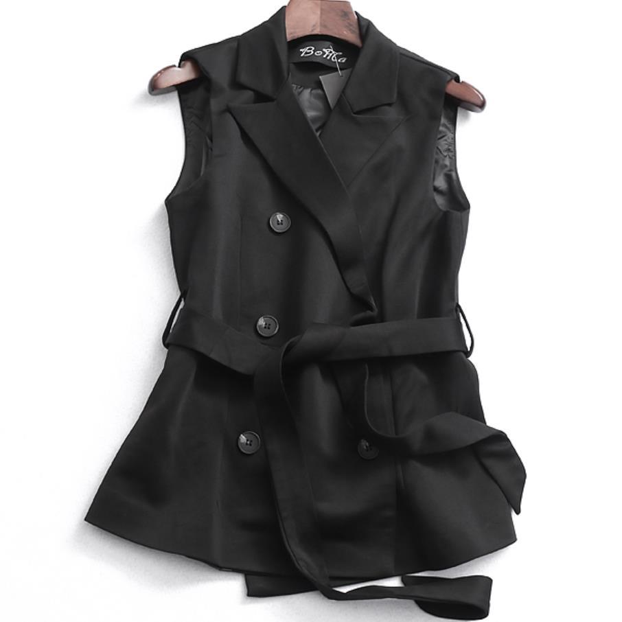 Primavera otoño doble breasted chaqueta veteranos de las mujeres cuello sin mangas chaqueta