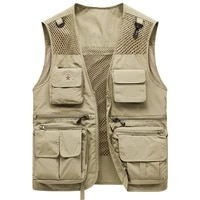 2021 spring outdoor quick drying loose vest mens multi pocket tooling vest fashion sports mountaineering fishing vest