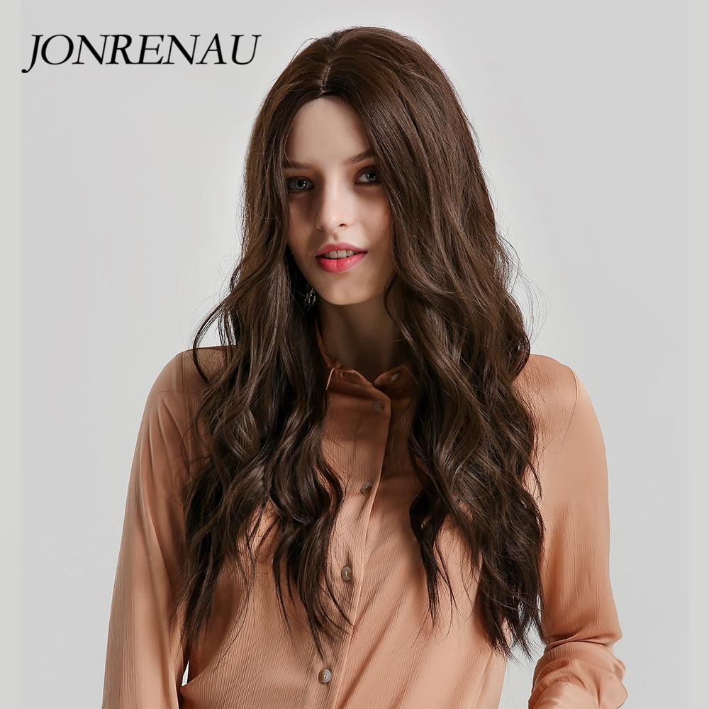 JONRENAU, pelucas mezcladas de Color marrón sintético largo para mujeres, pelucas de pelo de fibra Natural ondulado resistente al calor para Mujeres Negras/blancas
