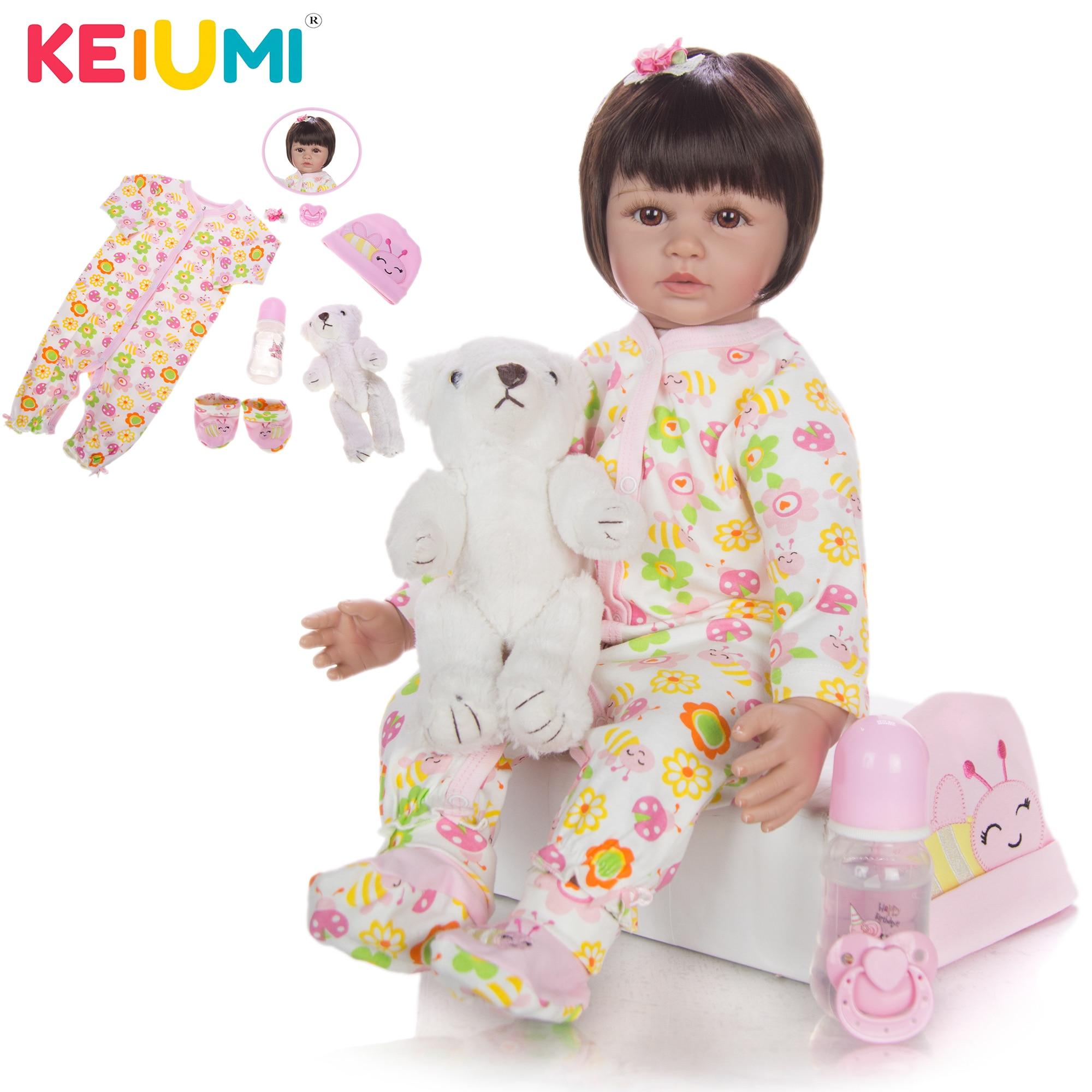KEIUMI Модная Кукла Reborn 60 см силиконовая Мягкая кукла Baby Reborn Boneca Menina Lifelike Bebe House Play Toy Kid Gift
