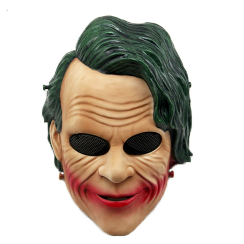 Máscara de Joker película Batman El caballero oscuro Cosplay Horror payaso de miedo con Peluca de pelo verde al aire libre CS Wargame protección ojos máscara
