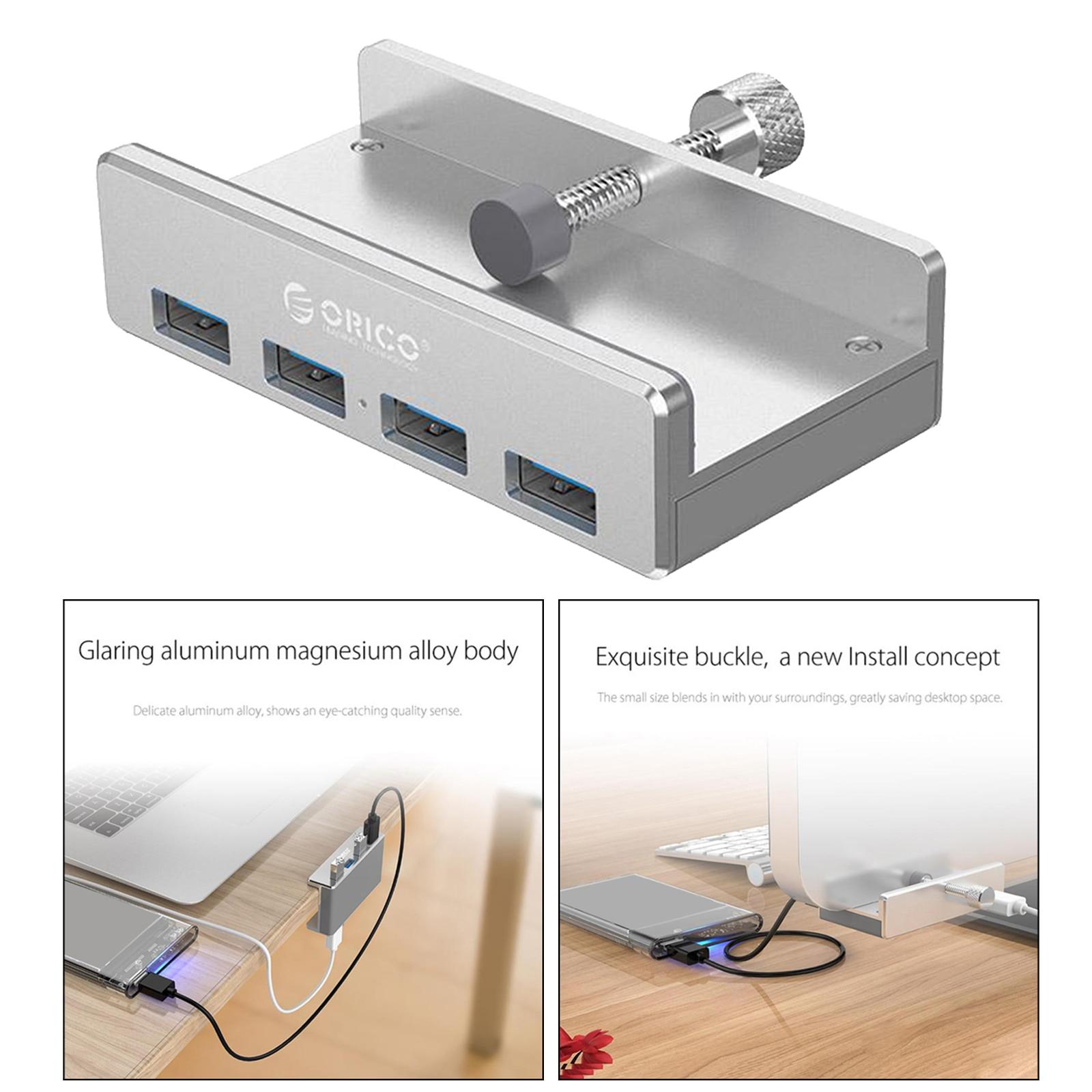 محول MH4PU معدني محمول ، موزع محور USB 3.0 ، 4 منافذ للكمبيوتر الشخصي والكمبيوتر المحمول