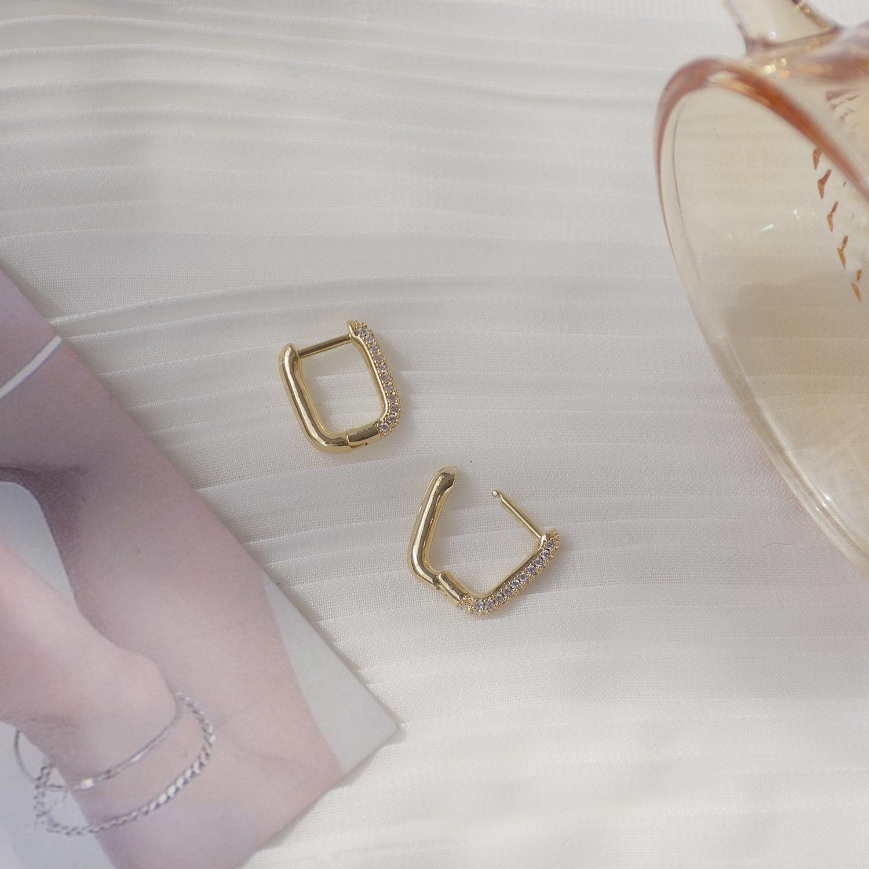 14K Real Gold Simple Metallic Temperament Micro-inlaid Zircon Stud Earrings for Women Cubic Zircon ZC Earrings  - buy with discount