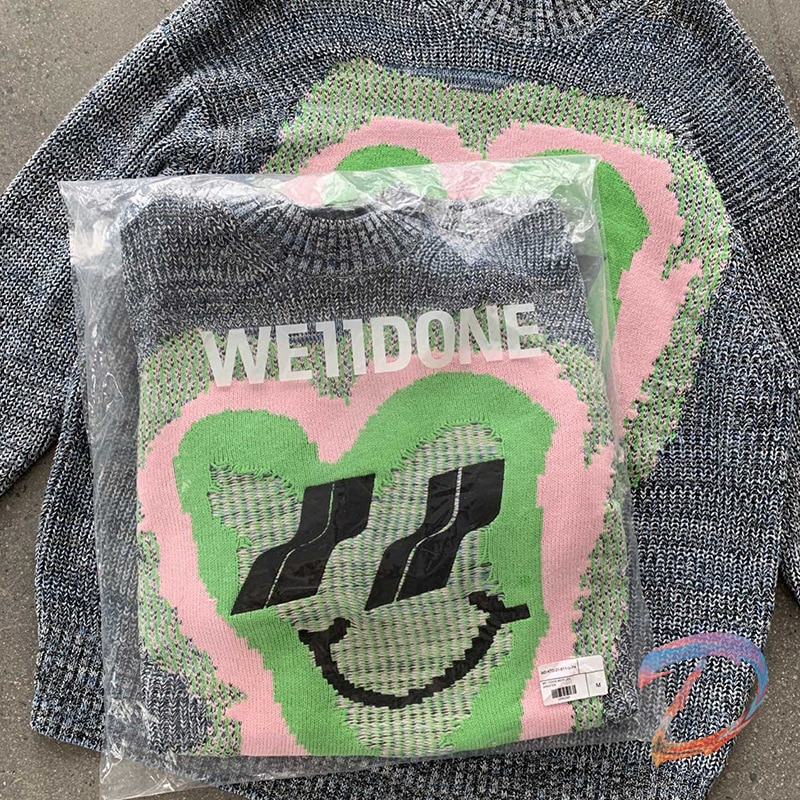 Men Women We11done Sweaters Peach Heart Smiley Knitted Sweater Welldone High Street Fashion Pullover enlarge
