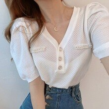 Sannian Women Shirt Pearl Button Cutout Top 2020 New Summer Korean Thin Knitwear Shirts Women Tops Woman Clothes