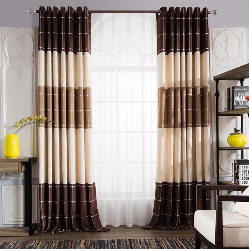 بسيط عصري الشنيل منقوشة الجاكار الستائر لغرفة المعيشة غرفة نوم نافذة الحديثة البني الستار الستائر تخصيص