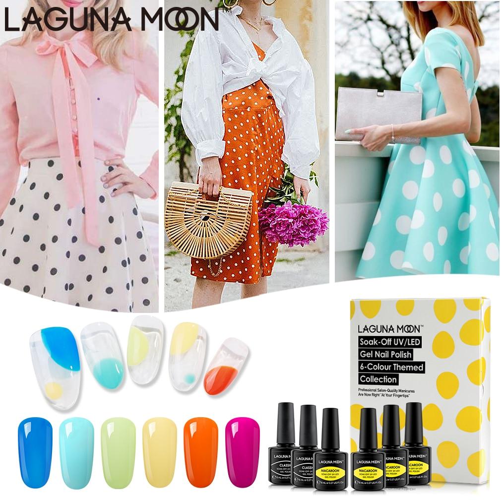 "Lagunamoon Gel Polish Gift Set 6*8ML ""Colorful Bubble"" Candy Color Soak Off Nail Varnish Primer Long Lasting UV LED Gel Polish"