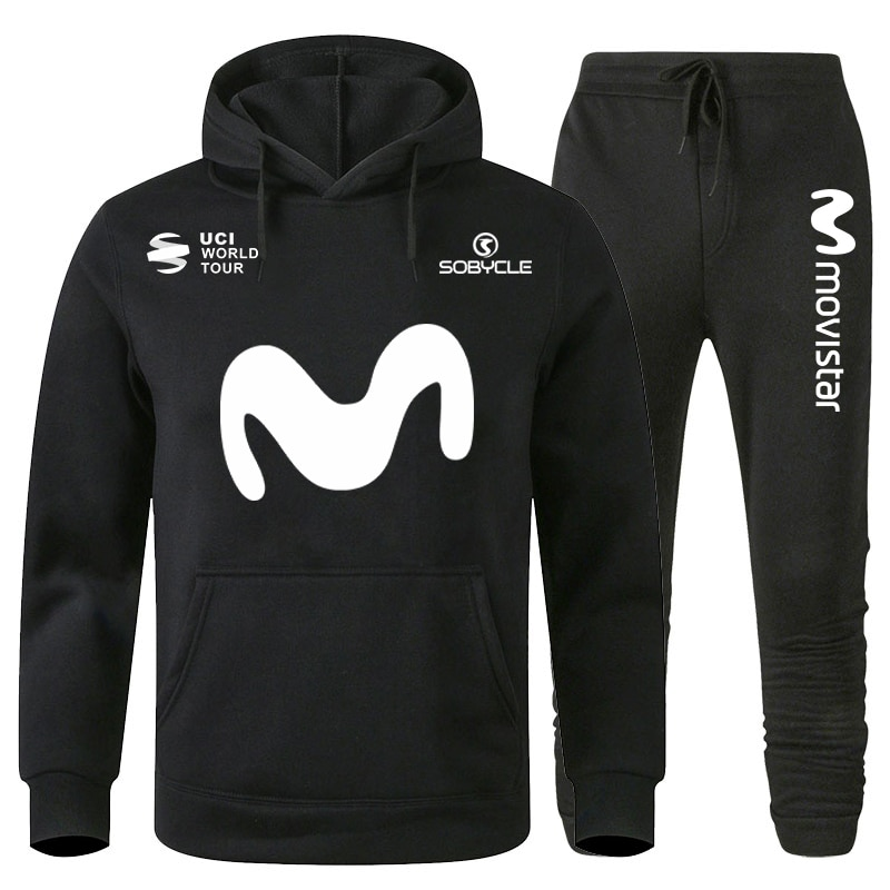Movistar Fashion Set Mens Pullovers Sweater Men Tracksuits Hoodie Two Pieces + Pants Sports Shirts Fall Winter Track Suit