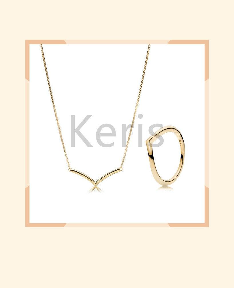 100% 925 prata esterlina novo 2019 primavera brilhar desejo anel colar conjunto de ouro frete grátis