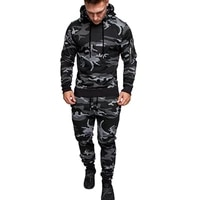 2019 fashion new arm zipper pullover hooded camouflage sweater all match casual sports suit sweating suits for workouts