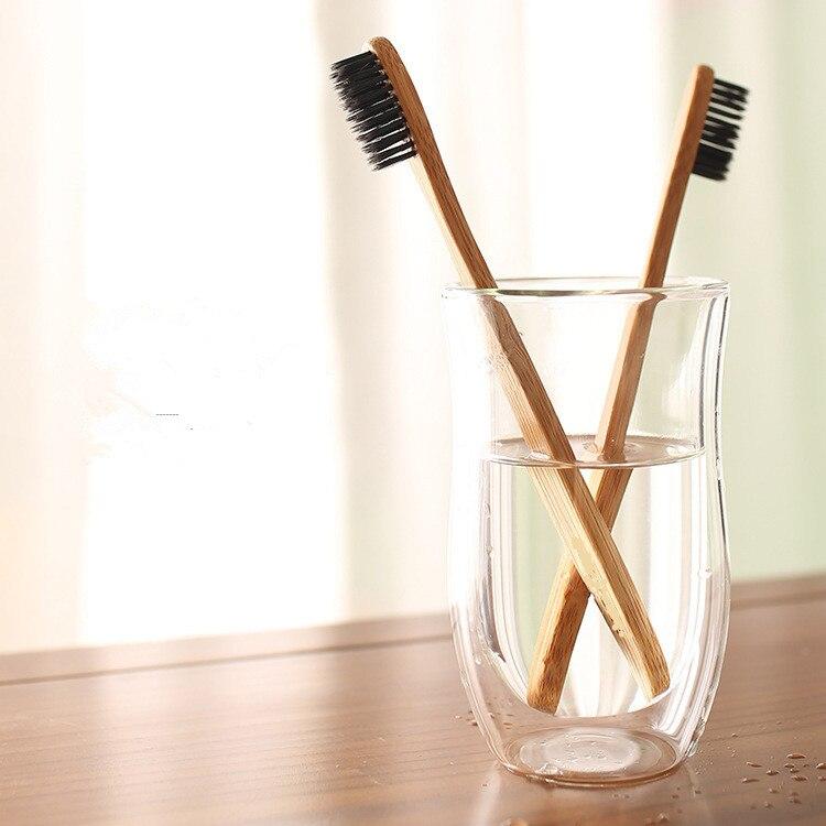 ¡Nuevo! Cepillo de dientes TSLM1 de 1 Uds de bambú Natural, cepillo de dientes de carbón, cepillo de dientes de bajo carbono, mango de madera de nailon y bambú