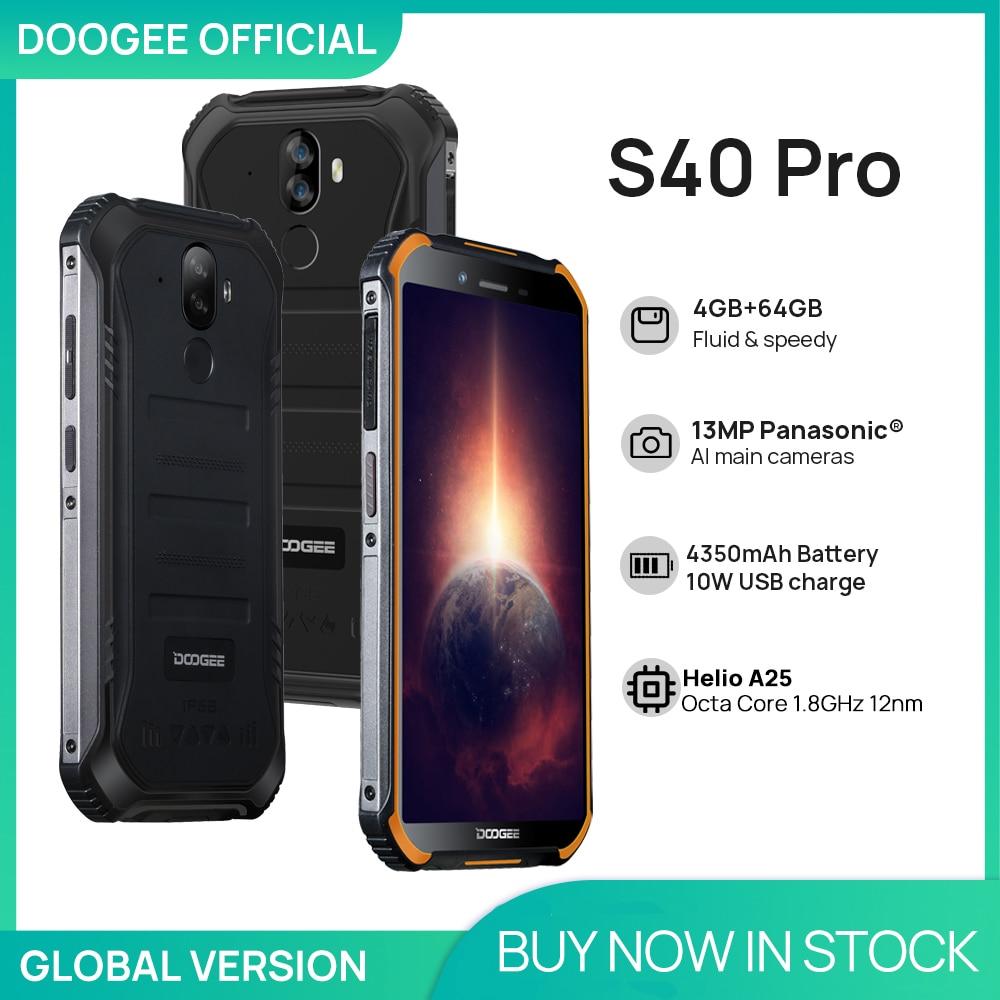 DOOGEE S40 Pro الهواتف الذكية أندرويد 10 هاتف محمول وعر IP68/IP69K 4GB RAM 64GB ROM مقاوم للماء هيليو A25 ثماني النواة هواتف محمولة