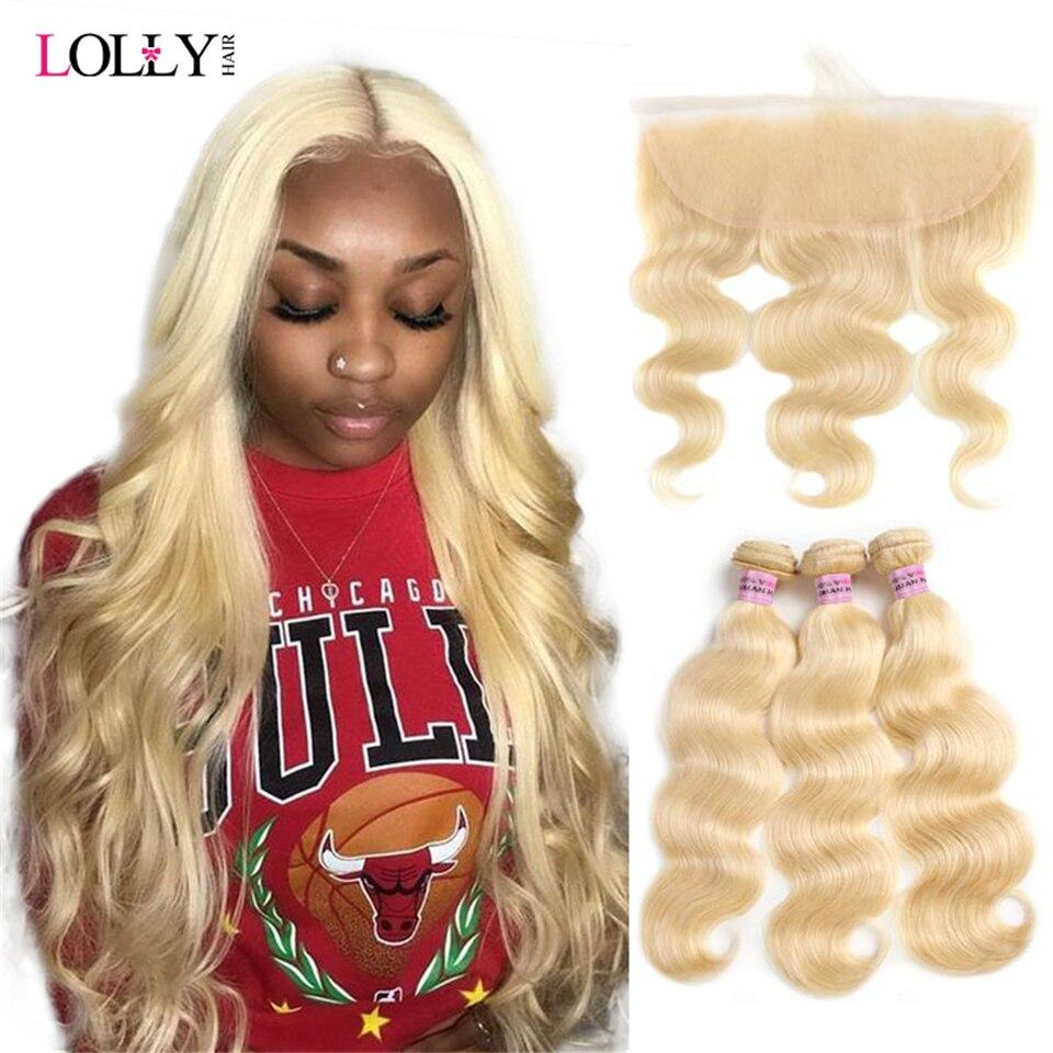 613 Honing Blonde Bundels Met Frontale Braziliaanse Body Wave Met Frontale Remy Blonde Menselijk Haar Kant Frontale Sluiting Met Bundels