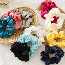 10pcs/lot Wholesale Satin Scrunchy Pack Female Girls Candy Color Hair Schrunchie Set Casual OL Hair Elastic Bands