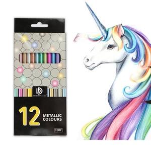 12 Colors Metallic Color Pencils Drawing Sketching Pencils Small Gift