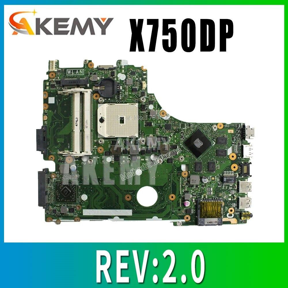 X750DP اللوحة REV:2.0 ل ASUS X550 X550DP K550D X550D K550DP اللوحة المحمول X750DP اللوحة X750DP اللوحة 100% موافق