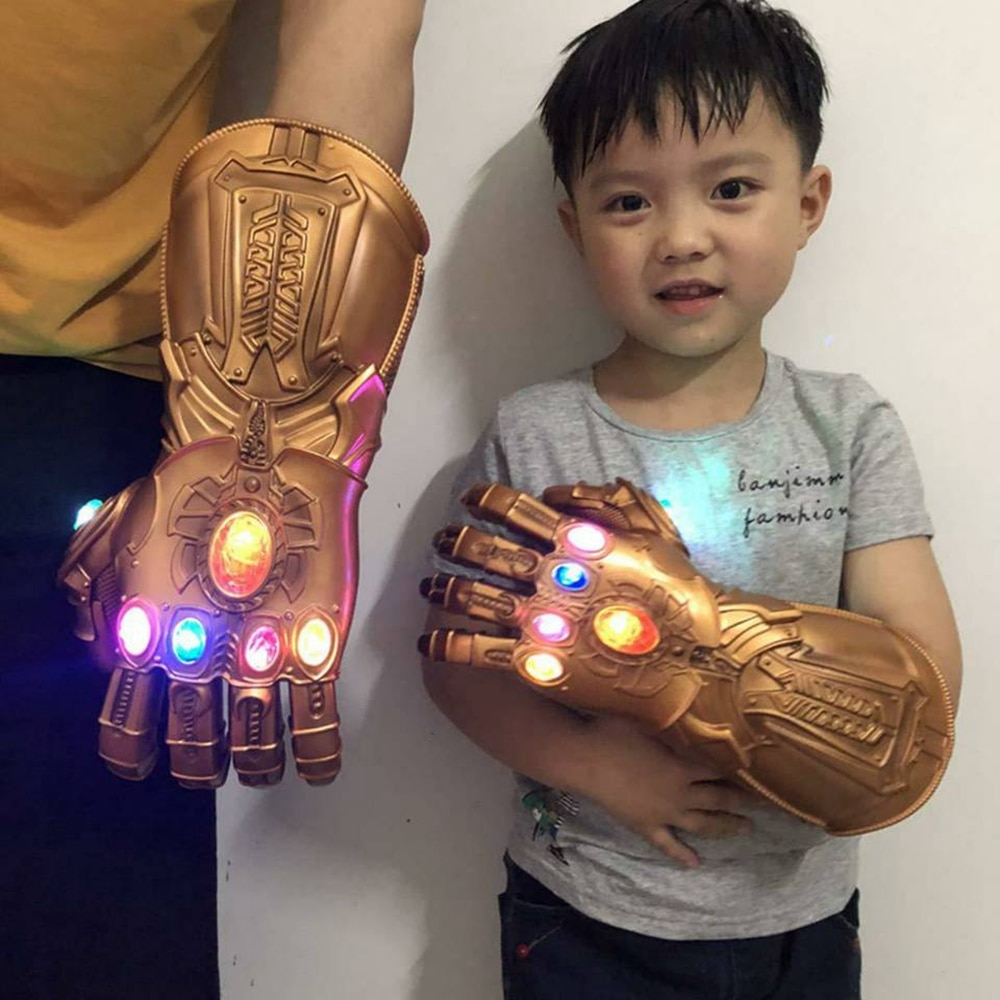 Thanos Infinity Gauntlet Light Glove Superhero Cosplay Gloves LED Kids Adult Carnival Costume Hallow