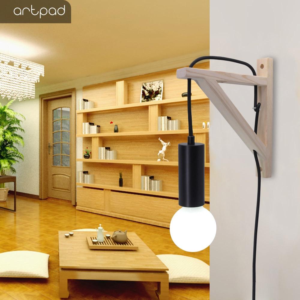 Artpad, candelabro de trípode de madera de estilo INS con enchufe de pared nórdico moderno, accesorio de luz para cabecera de dormitorio, lámpara colgante de pared de interior