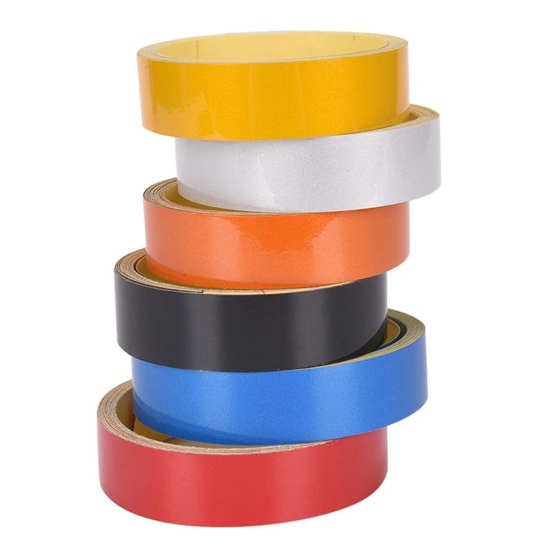 Купить с кэшбэком 1pc Self Adhesive Warning Tape Stripe Car Motorcycle Reflective Film Car Styling Safety Mark Reflective Tapes Stickers 2cmx5m