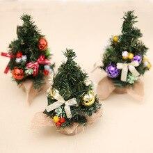 20cm PVC Mini Christmas Trees Xmas Home Decorations Small Pine Tree Christmas Miniature Tree Festival Home Ornaments