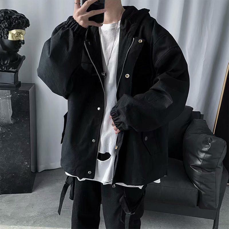 Весенние черные куртка с капюшоном Мужские Модные солнцезащитные очки в стиле ретро для девочек, повседневные куртки Мужская Уличная Корей...