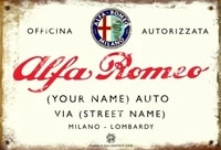 vintage retro personalised alfa romeo dealer medium size metal 20x30 tin sign italian