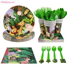 Jungle fête forêt Zoo thème décoration vaisselle jetable motif Animal assiettes en papier tasses enfants bébé douche fête fournitures