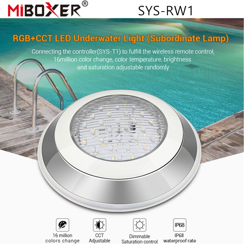 Miboxer SYS-RW1 RGB+CCT LED Underwater Light (Subordinate Lamp)Swimming Pool Lamp IP68 Waterproof DMX512/WiFi APP Alexa Control