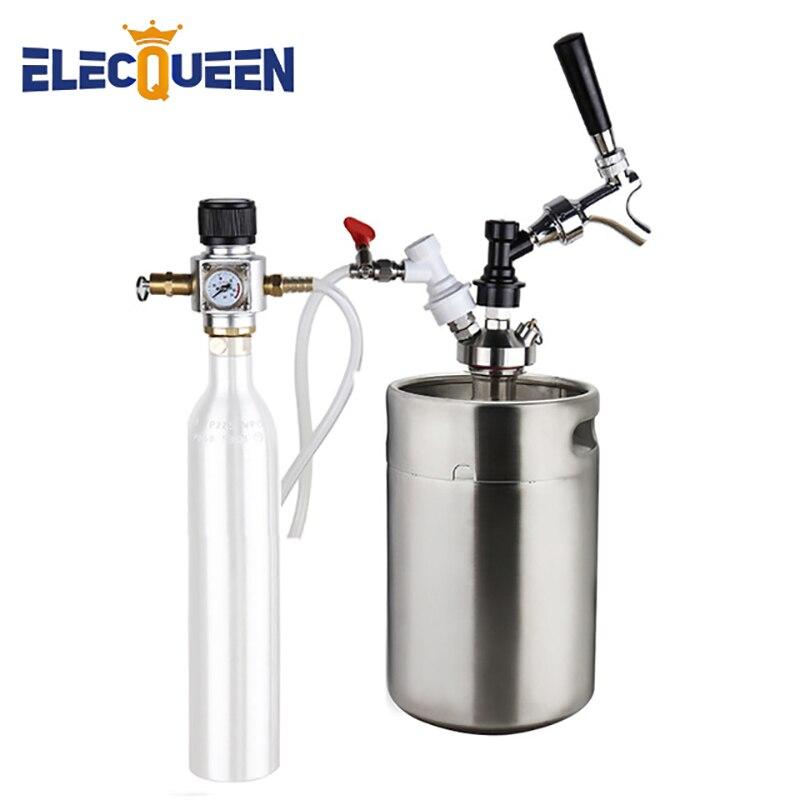 Homebrew Bier Fass 5l, Pressuirzed Mini Fass System Mini Brummstimme Kit mit 90PSI Co2 Regler Bier Linie Montage, soda Wasser, Der
