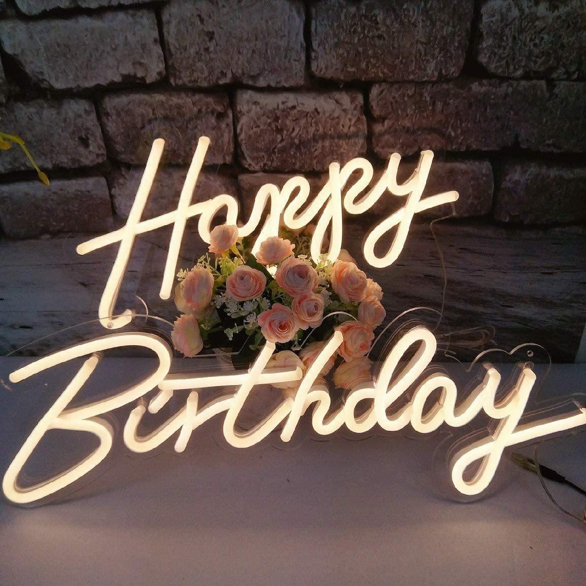 23 ''x 16 ''عيد ميلاد سعيد Led علامات ضوئية النيون لشريط حانة نادي المنزل حفل زفاف مطعم ديكور داخلي جدار معلق ضوء النيون