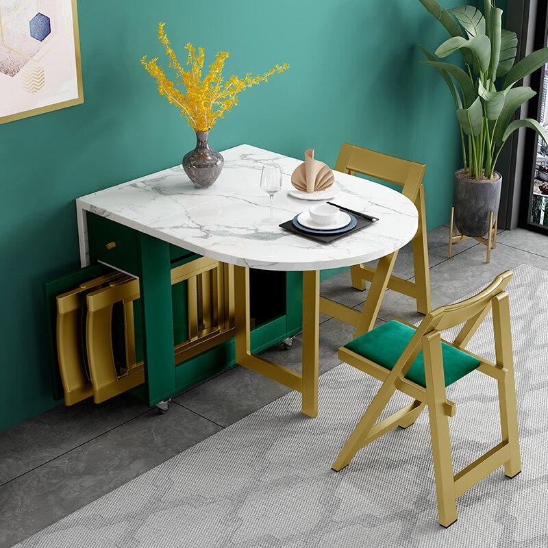 Novo criativo de madeira maciça dobrável móvel mesa jantar com 4 cadeiras sala estar cozinha material armazenamento móveis para casa