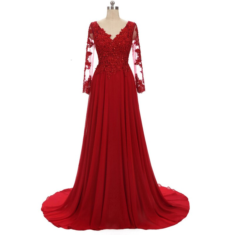 Lace Appliques Long Sleeve Red Chiffon Plus Size Evening Formal Tulle Dress Floor Length Women Gown