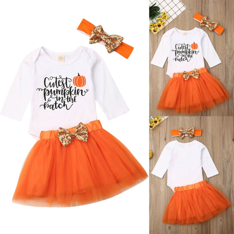 Newborn Baby Girls Pumpkin Romper Tutu Skirts Headband Halloween Outfits 3PCS